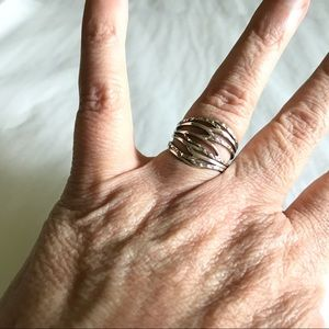 Sterling Silver Muti Layers Wide Ring 8 1/2